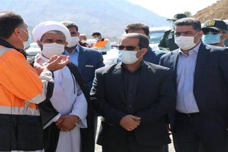 بازدید معاون اجتماعی و پیشگیری از وقوع جرم دادگستری کرمان از نقاط حادثه خیز محورهای ترانزیتی شهرستان بم